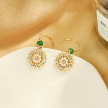 Baroque Hollow Floral Pearl Dangle Earrings for Women Female Elegant Gold Color Big Circle Drop Earrings Bridal Jewelry Gift ancient ways the new 2019 noble elegant circle mesh hollow out long tassels of pearl earrings earrings and collars