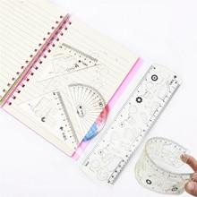 4PCS/set Soft Fun Ruler 20cm Straight ruler  Student geometric triangle ruler Cute painting template