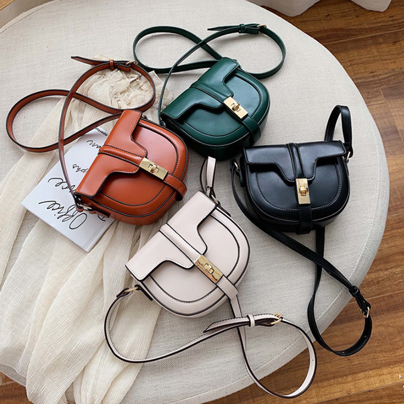 Fashion Crossbody Bag For Women Saddle Bags PU Leather Shoulder Messenger Bags Semi-circle Handbags French Niche Design Bag