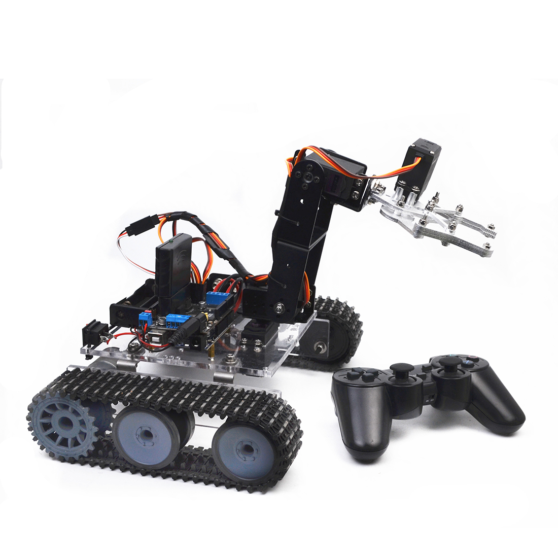 Hot Sale DIY Programmable Tank 4DOF Metal Mechanical Arm Robot Kit (Without Battery) Model Educational Toy Gift For Kid Adult