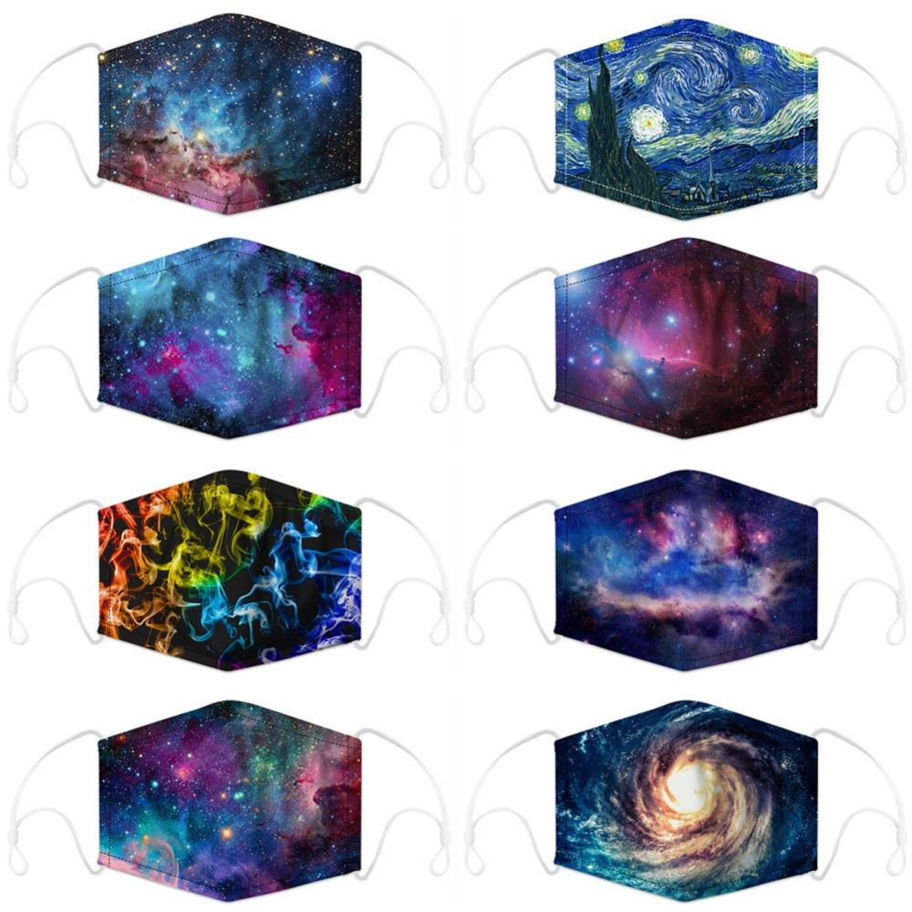 Unisex Mouth Mask Starry Sky Printing Reusable Protective PM2.5 Face Cover Half Fashion Breathable Warm Cotton Anti-Dust Masks