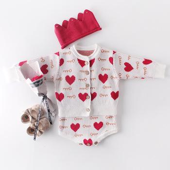 Zima jesień serce sweter księżniczka płaszcz znosić dla dzieci niemowlęta dziewczyny dzieci dzieci swetry sweter z dzianiny Romper S9951 tanie i dobre opinie Bergawa COTTON Poliester Nowość Unisex NONE Drukuj Pełna REGULAR O-neck Przycisk zadaszone
