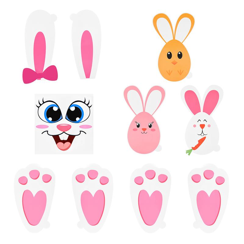 8Sheets Easter Tiaronics 220Pcs Removable Easter Bunny Paw Stickers Prints Rabbit Paw Print Flower Carrot Floor Decal Clings Easter Party Decorations
