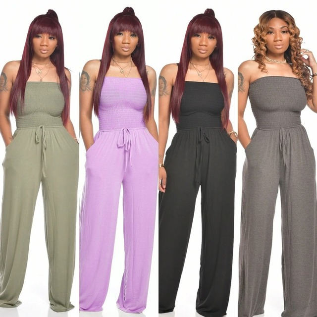 Casual Sleeveless Women Jumpsuits Sexy Strapless Lace Up Loose Overalls with Pocket Summer Fashion Party Women Rompers Outfit 2