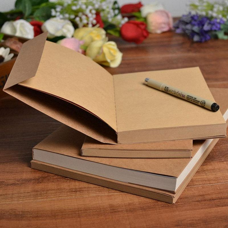 32k Retro Sketch Book Kraft Paper Sketchbook Blank Supplies Stationery Notes Book Notebook Diary School Picture Sketch Offi R7Q3