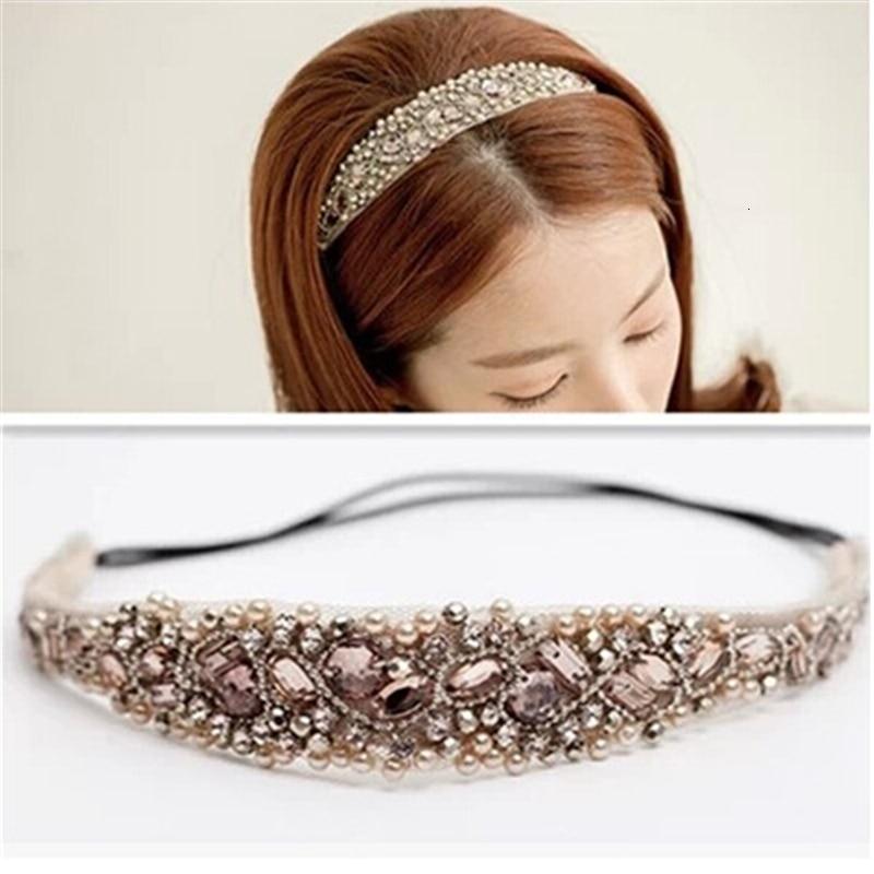 Fashion Women Crystal Rhinestone Beads Handmade Elastic Headband Manual Club Beads Measle Headdress Headwrap Hair Accessories