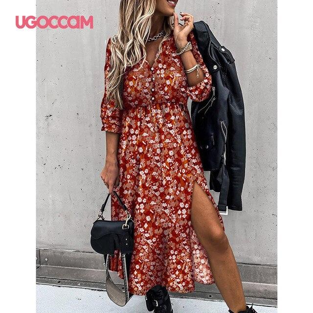UGOCCAM Women Dress Chiffon V-Neck Party Dress A-line Women Half Sleeve Flower Print Floral Dress female Vestido Plus Size 4
