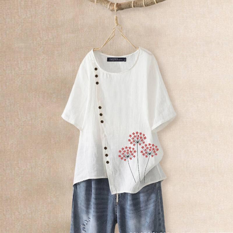 Elegant Printed Tee Shirts Women's Summer Blouse ZANZEA 2020 Casual Short Sleeve Tunic Female O Neck Blusas Plus Size Tops 5XL