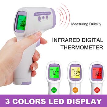 Cyfrowy termometr czoło bezdotykowy pomiar temperatury na podczerwień z kolorami podświetlenie cyfrowy wyświetlacz ℃ ℉ dokładność tanie i dobre opinie carevas CHINA Forehead Thermometer