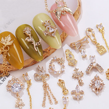 5 шт./лот 3D Розовая цепочка, металлический циркон, украшения для ногтей, украшения для ногтей, высокое качество, циркон, кристалл, маникюр, циркон, алмазные подвески