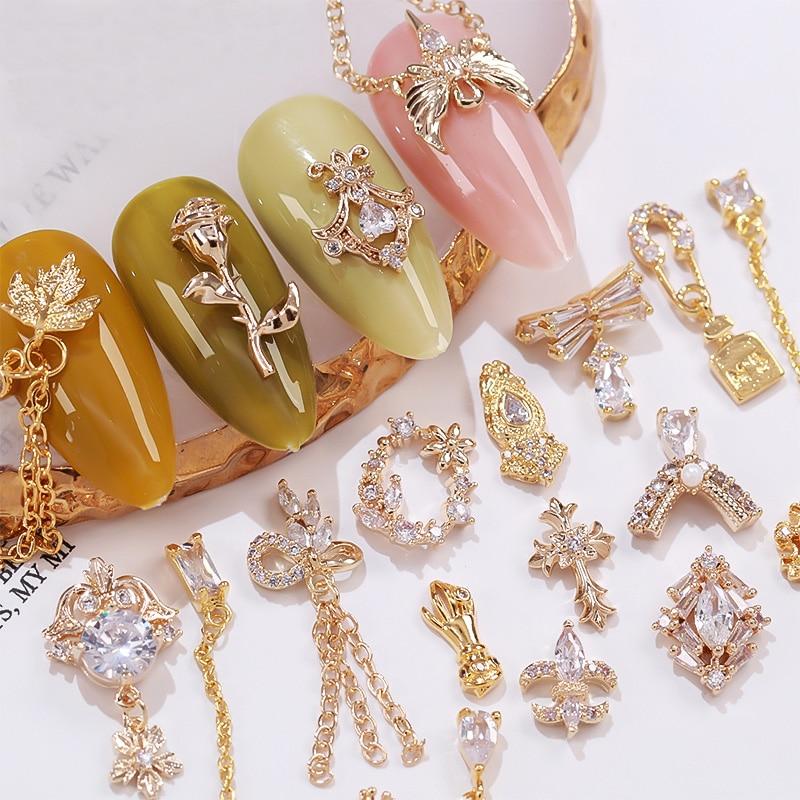 Металлические 3D Алмазные украшения для ногтей из циркона, 5 шт., стразы из циркона для ногтевого дизайна, ювелирные изделия из сплава, циркон...