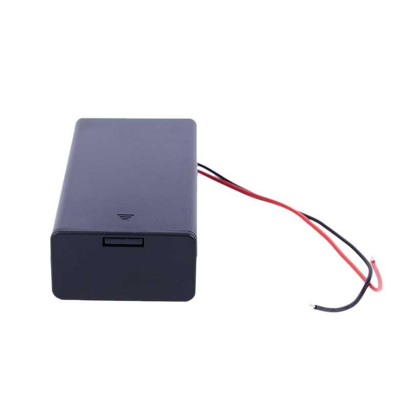 Interruptor de ligar/desligar da caixa do caso do armazenamento do conector do suporte da bateria de 3.7 v 2x18650 com ligação