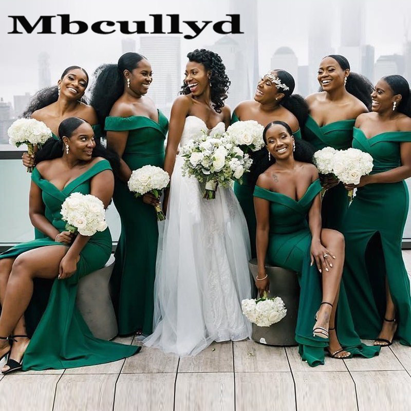 Mbcullyd Dark Green Long Bridesmaid Dresses 2020 Sexy Side Split African Wedding Guest For Dress Women Robe Demoiselle D'honneur