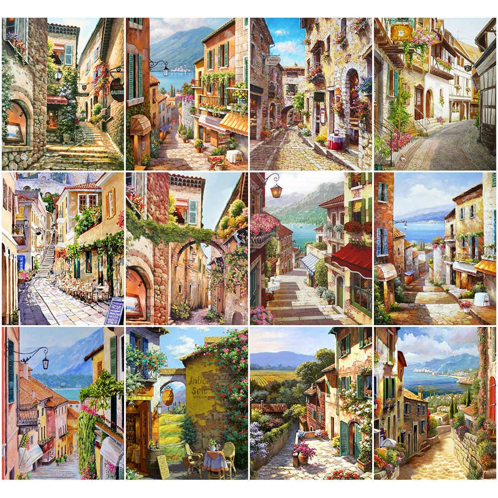 Azqsd 40x50cm Dipinto Per Numero Kit Di Tela Paesaggio Di Citta Casa Camera Da Letto Opere D Arte Da Parete Da Colorare Con Numeri Street Regalo Fatto A Mano Colora Per Numero Aliexpress