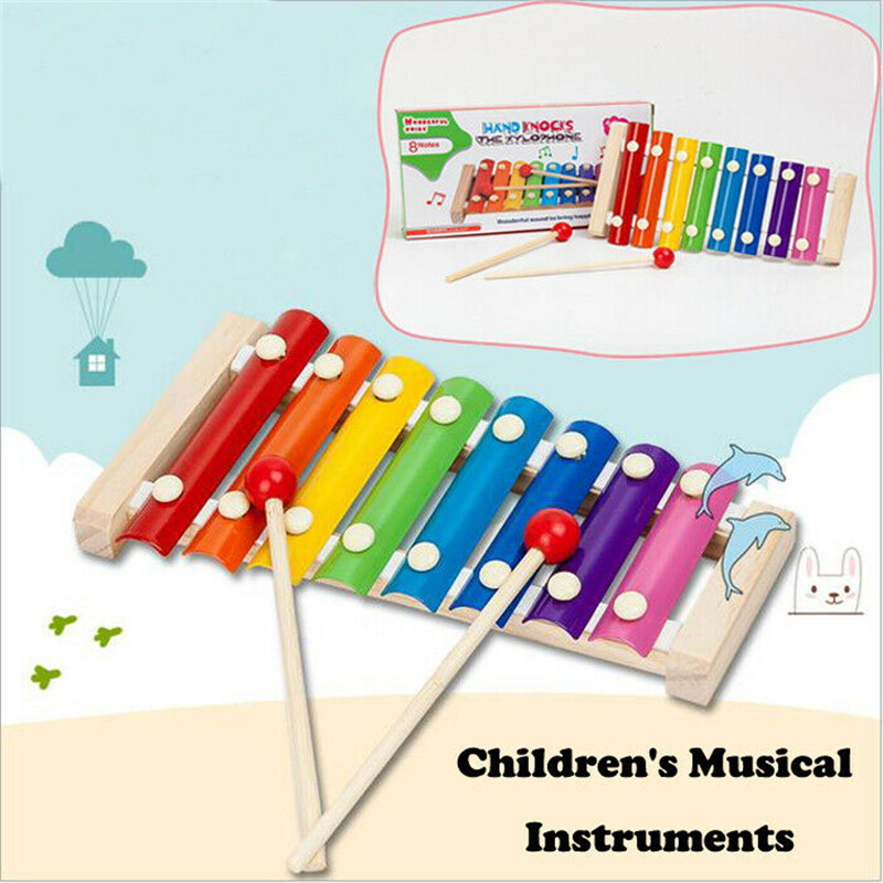 Toddler Kids Children's Colorful Musical Toys Instruments Cute Xylophone Educational Intelligence Developmental Wooden Toys