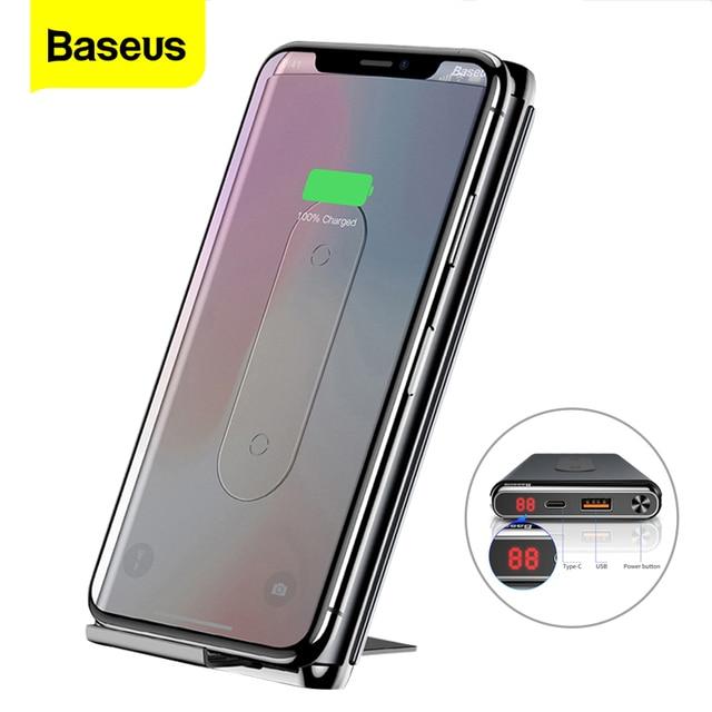 Baseus 10000mAh Carica Rapida 3.0 Banca di Potere Powerbank Caricatore Portatile Qi Wireless Per Xiaomi mi USB C PD Veloce batteria senza fili