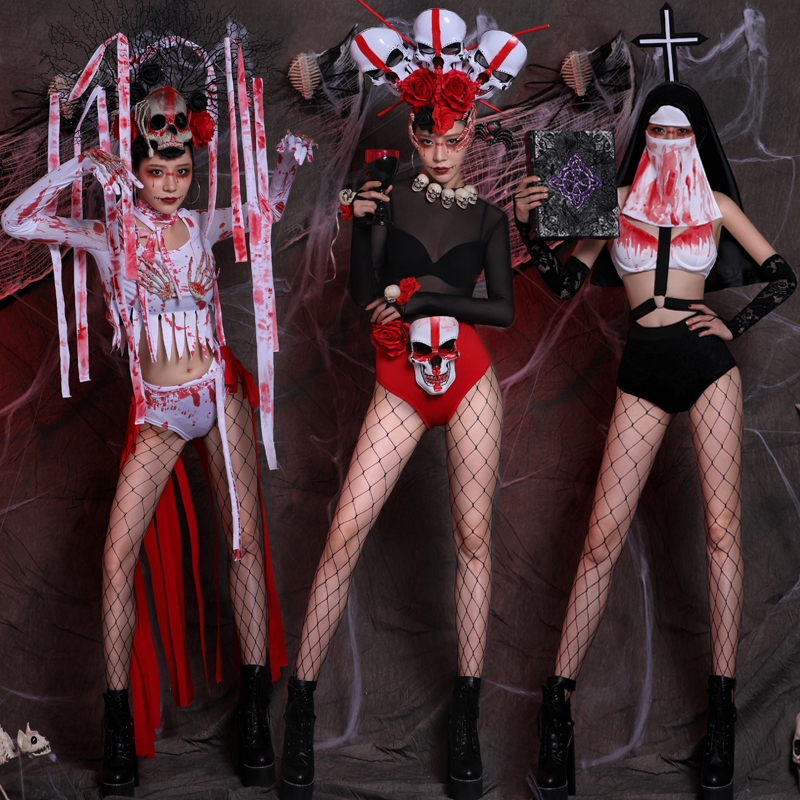 Halloween Bar Stage Costumes Sexy Gogo Rave Clothes Zombie Dress Nightclub Horror Ghost Festival Blood Suit Party Wear DT1603