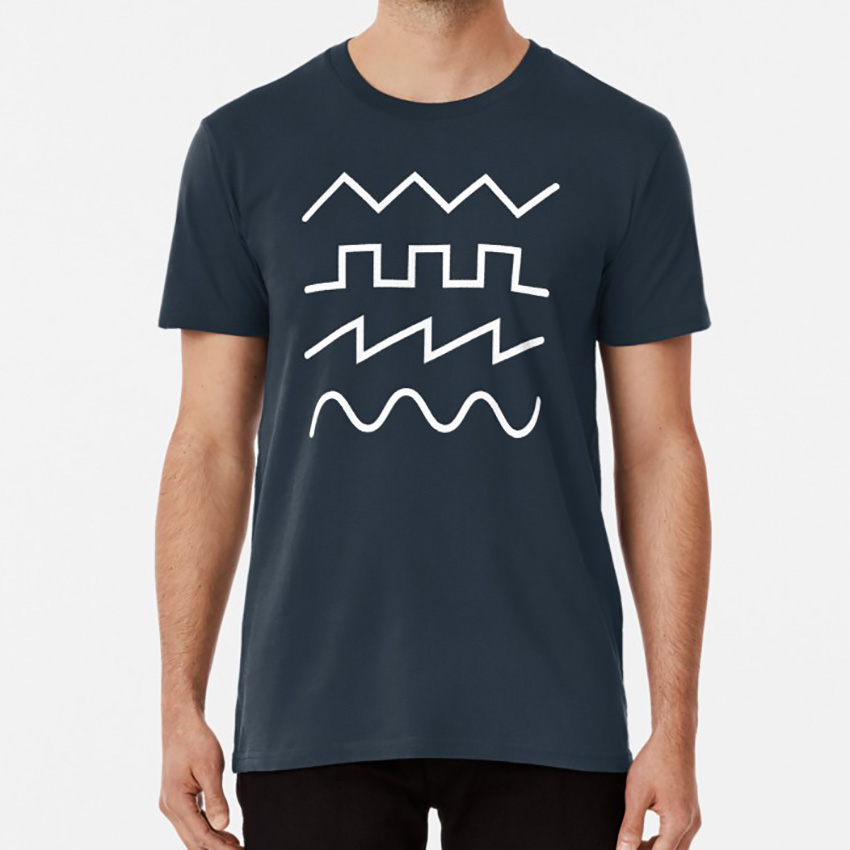 Minimal Synthesizer Waveforms T shirt synth synthesizer keyboard electronic music edm music producer adsr analog modular dj image