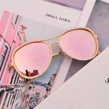 Klasik Pilot taklidi güneş gözlüğü kadın moda lüks kristal dekorasyon gözlük pembe şeffaf yuvarlak gözlük gafas de sol mujer