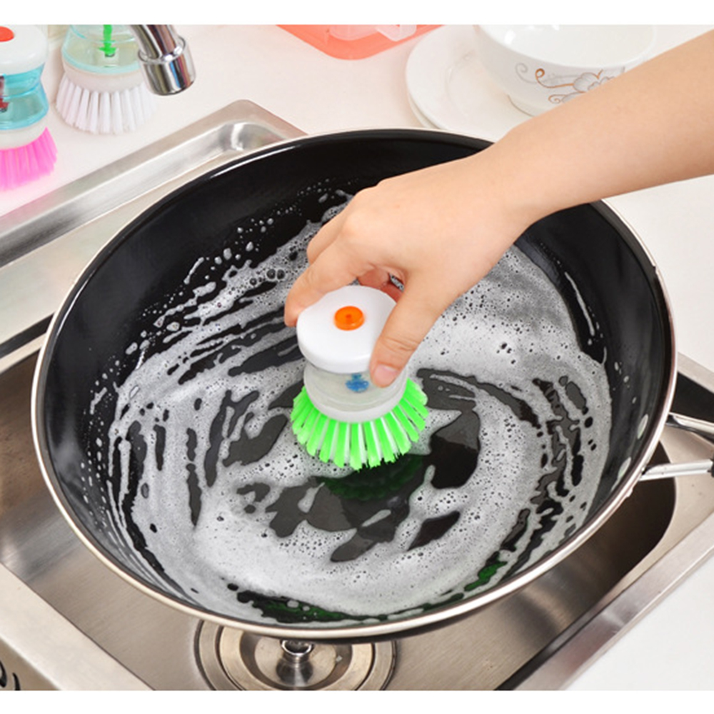 Kitchen Dish Scrubber Brush with Soap Dispenser Cleaning Brush for Dishes Pot Pan Cleaning Home Kitchen Tools Random Color|Cleaning Brushes| |  - title=