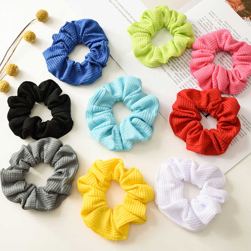 Soft Cotton Ribbed Solid Color Scrunchie Elastic Hair Ties Ponytail Hair Ring Red Yellow Elastic Hair Bands Headwear Headbands