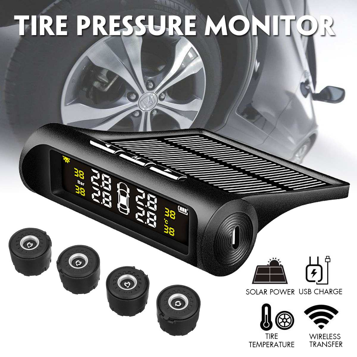 Car Solar Wireless TPMS Tyre Tire Pressure Monitor System LCD+4 External Car Sensor Car Truck Tire Waterproof IP67 Monitor