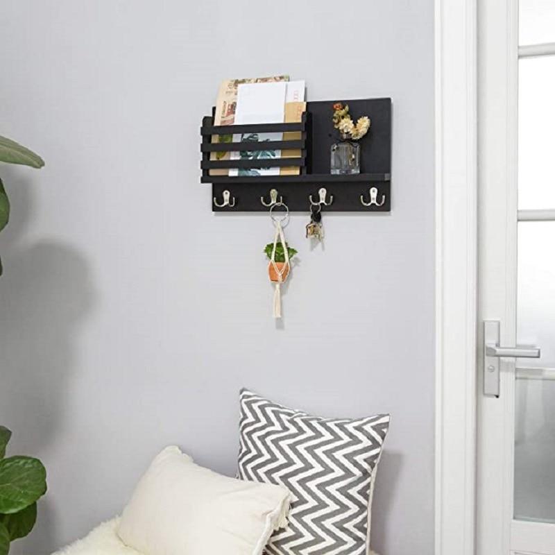 Wall Mounted Mail Holder Coat Rack Hanger Key Hanger Wooden Mail Sorter Organizer with 4 Double Key Hooks Wall Shelf Wood 4
