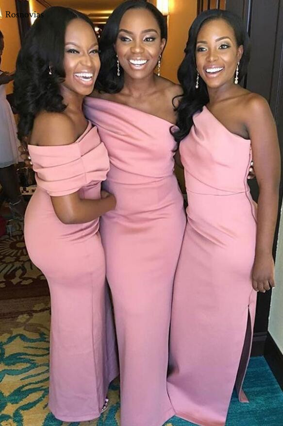 Africa Pink Mermaid Bridesmaid Dresses 2020 One Shoulder Side Split Long Wedding Guest Maid Of Honor Gowns Plus Size Cheap