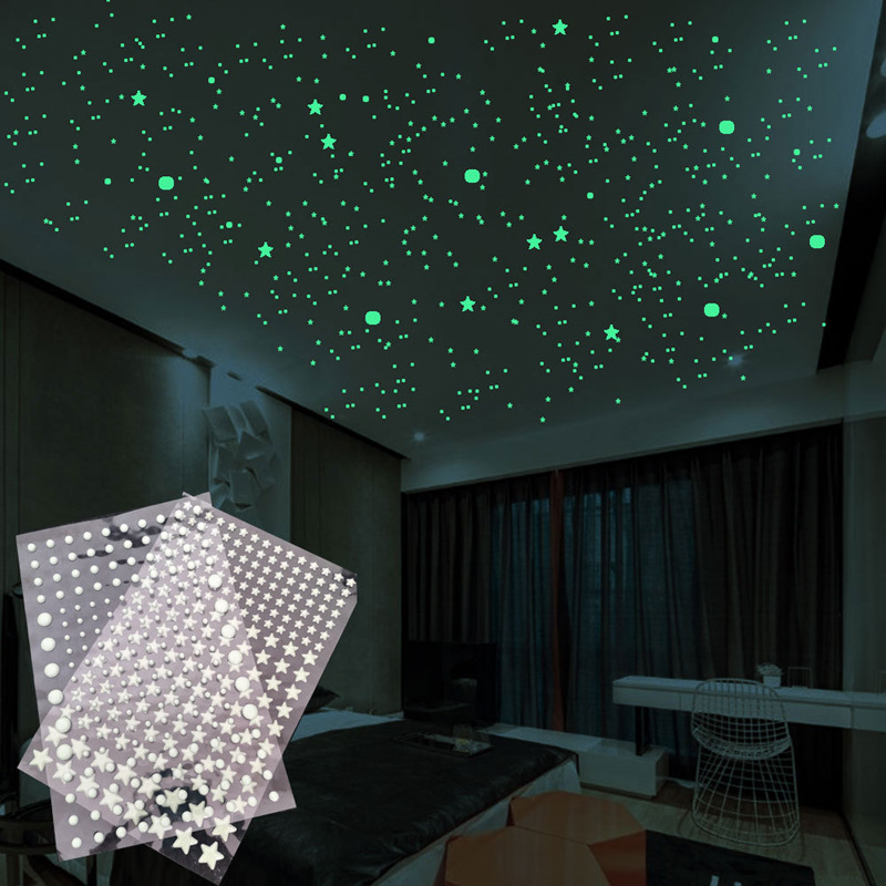 202pcs/set Lumimous Small Stars And Circle Dots Wall Stickers 3D Bubble Wall Decals For Kids Room Bedroom Glow In The Dark