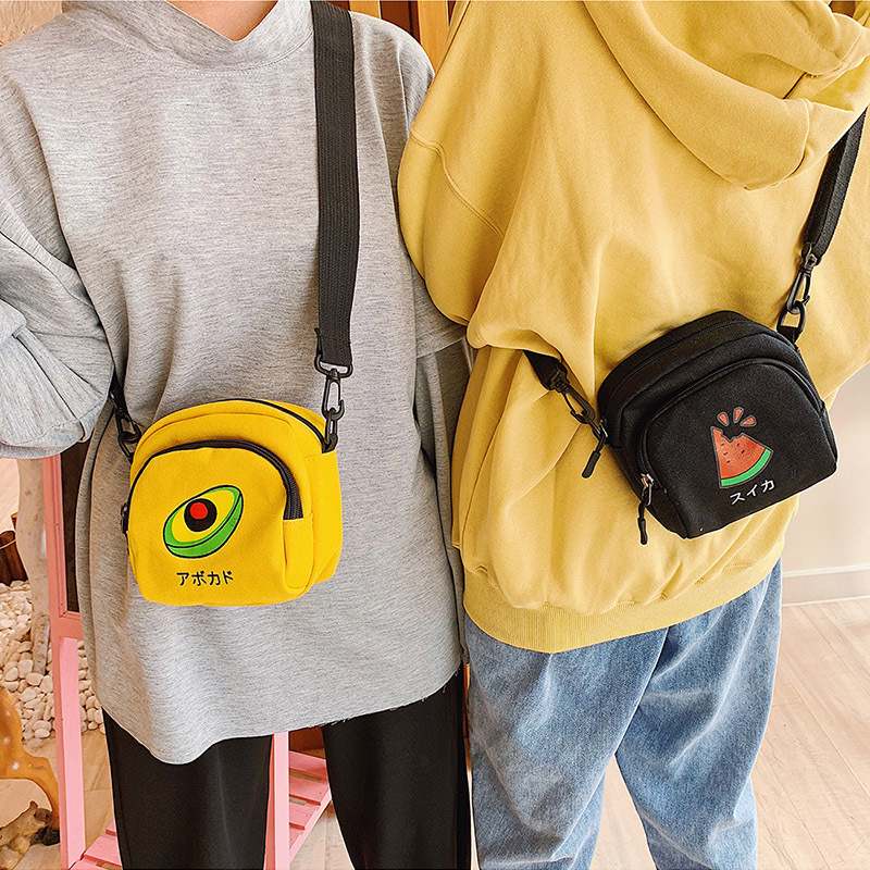2019 Crossbody Bags For Women Korea Style Canvas Shoulder Bag Japan Harajuku Girl Cute Fruit Student Small Purse Phone Bag Beach