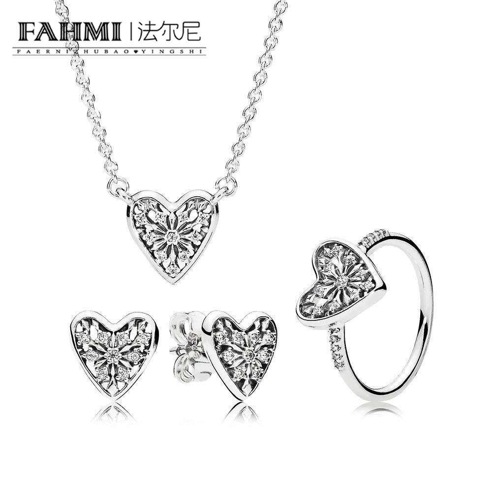 FAHMI 100% 925 Sterling Silver Original Hearts Of Winter Earring Studs Ring Necklace Set CS1728 196371CZ 296368CZ 396370CZ