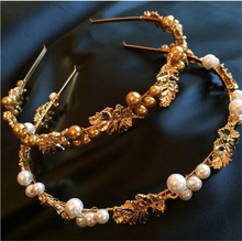 New Women Vintage Baroque Luxury French Girl British Palace Style Gold Leaves Pearl Hairband Hair Accessories Headwear