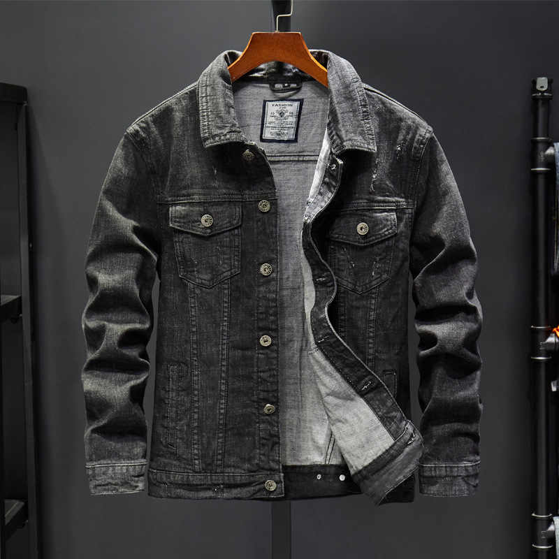 Men/'s Spring Autumn Slim Denim Jackets Coat Boys Washed Retro Jean Jacket Coats