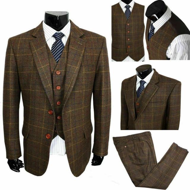 2020 Bruin Koffie Wol Blend Notch Revers Twee Knop Pakken 3 Stuks Vintage Tweed Formele Peaky Blinder Herenpakken
