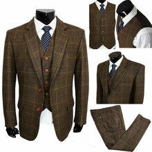 2020 brązowa kawa mieszanka wełny wycięcie klapy dwa guziki garnitury 3 kawałki Vintage Tweed formalne Peaky Blinder garnitury męskie