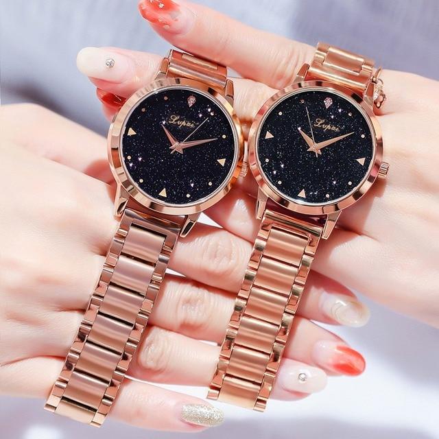 Women Dress Watches Rose Gold Stainless Steel Lvpai Brand Fashion Ladies Wristwatch Creative Quartz Clock Cheap Luxury Watches Accessories Female Watches Jewellery & Watches