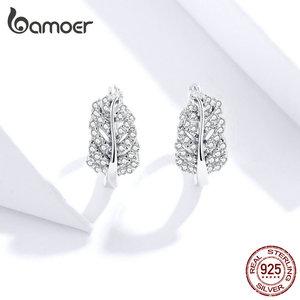 Image 4 - bamoer Sterling Silver 925 Jewelry Sets Leaf Open Finger Rings and Hoop Earrings for Women Female 2019 New Bijoux ZHS174