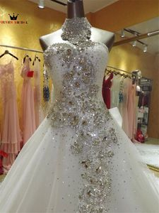 Image 4 - Mẫu Thật Đầm Vestido De Noiva 2020 Bầu Người Yêu Voan Ren Pha Lê Đính Hạt Sang Trọng Váy Áo Dài Tàu KA04M