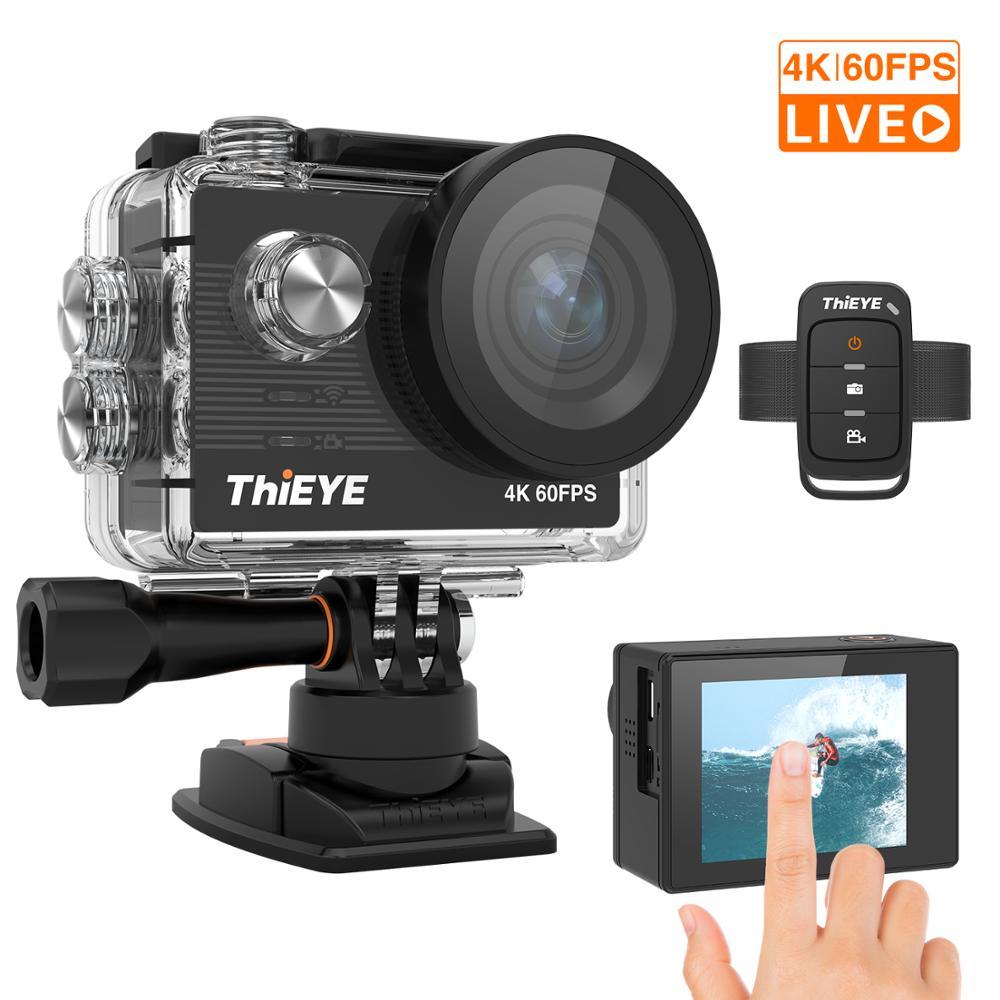 Thieye t5 pro ultra hd 4 k 60fps tela de toque câmera ação wifi controle remoto 60m cam à prova dwaterproof água com eis em 4 k câmera esportiva