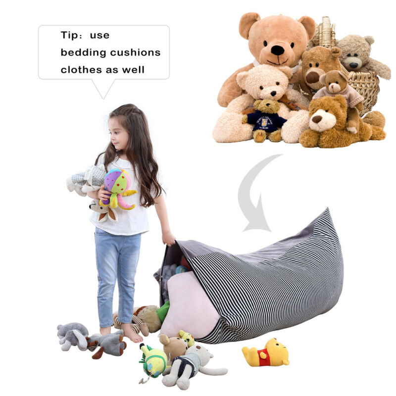 Stupendous Hot Selling Stuffed Animal Storage Bean Bag Chair Extra Large Canvas Pouch Stripe Chair Sofa Sundries Storage Bag Multi Function Squirreltailoven Fun Painted Chair Ideas Images Squirreltailovenorg