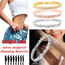 1Pcs Fashion Crystal Magnetic Slimming Bracelet Healthy Weight Loss Charm Gold Silver Bracelets Slimming Products Jewelry