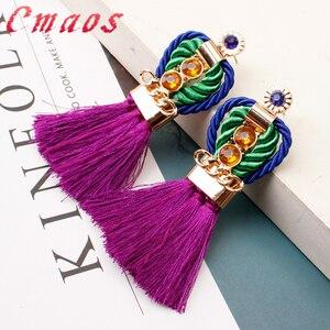 Женские богемные серьги ручной работы Cmaos, роскошные винтажные вечерние серьги в стиле бохо, модные ювелирные украшения высшего качества