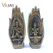 VILEAD Figurines de bouddha en résine, 2 pièces par ensemble, Statue créative dasie du sud est, décoration artistique, rétro, pour la maison, 21cm