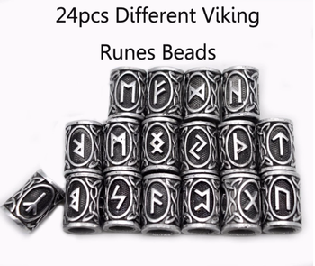 24pcs/lot Viking Runes Beads For Jewelry Making Hair Beard Crafts Jewlery Metal Spacer Hole Bead Accessories Fit Charm Bracelet