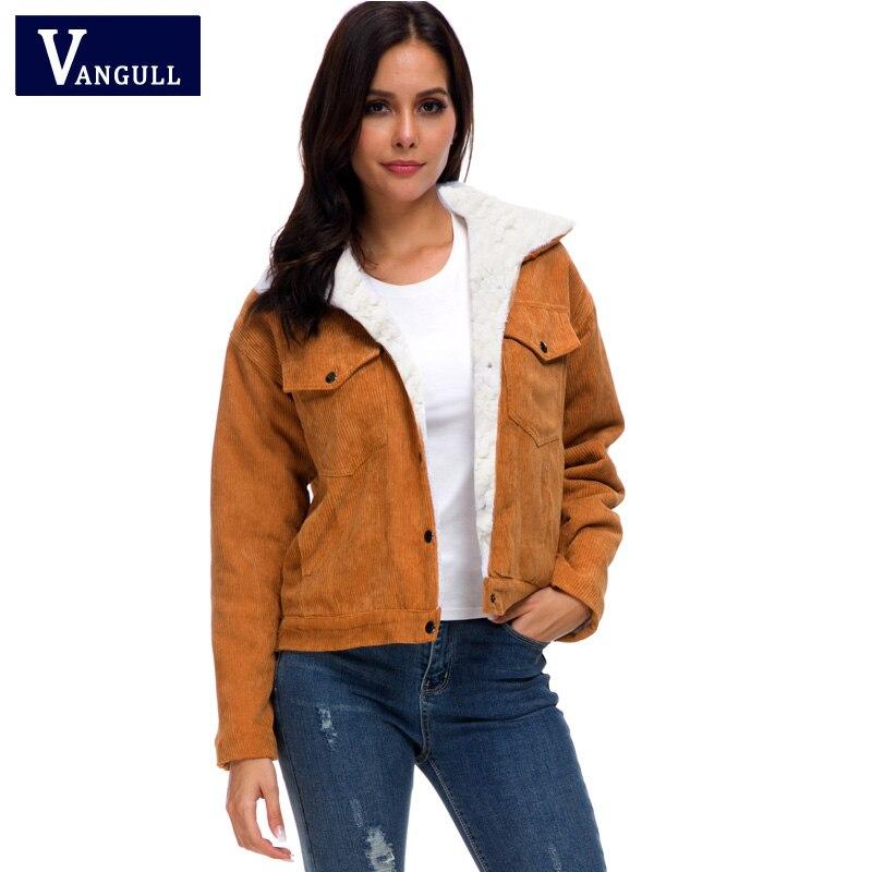 H9c6660026c1945c29241822e29d3e795K VANGULL Women Winter Jacket Thick Fur Lined Coats Parkas Fashion Faux Fur Lining Corduroy Bomber Jackets Cute Outwear 2019 New