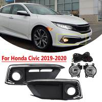 1 Set Car Front Bumper Fog Light Lamp Spot Lights Set with Wiring Switch For Honda For Civic 2019 2020 Car Light Assembly