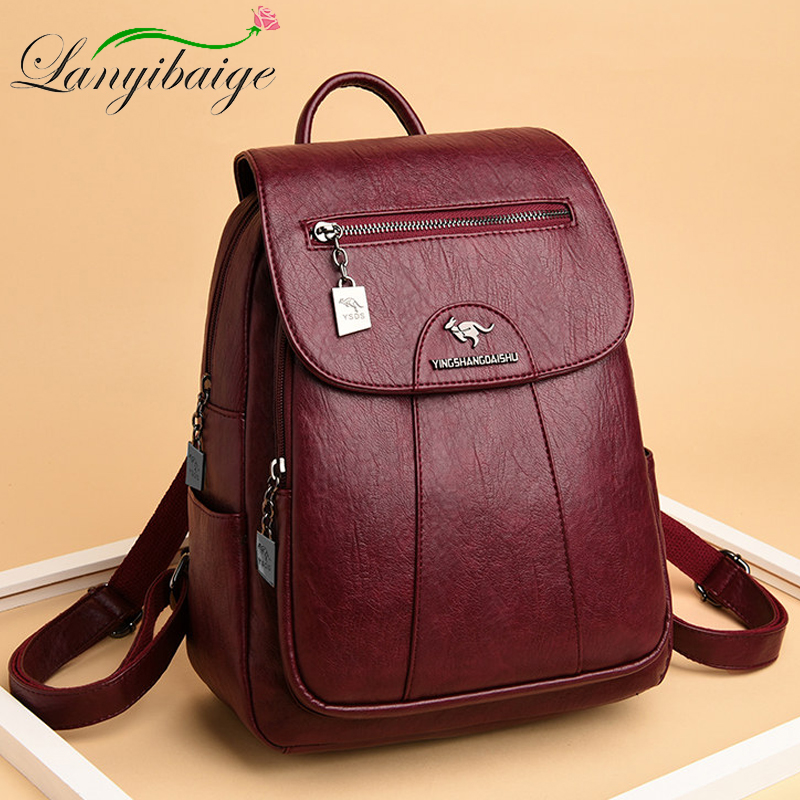 5 Color Women Soft Leather Backpacks Vintage Female Shoulder Bags Sac A Dos Casual Travel Ladies Bagpack Mochilas School Bags