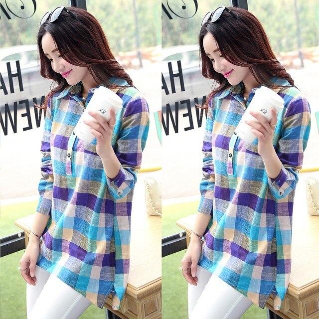 #  Women's Autumn Blouse Casual Matching Color Long Sleeve Button Loose Plaid Shirt Blouse Top Woman Summer 2021 Female Blusas 3