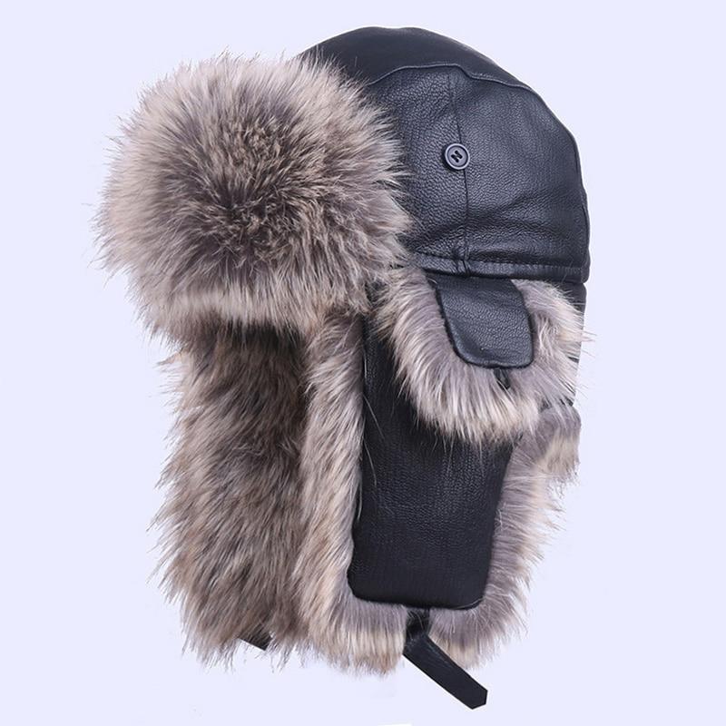 Bomber Hat Genuine Leather Winter Trapper Trooper Warm Plush  Faux Rabbit Fur Aviator Earflaps Snow Ski Cap Russian Ushanka