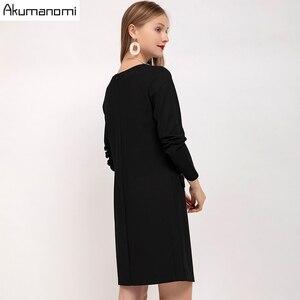 Image 3 - ชุดสตรีฤดูใบไม้ร่วง 2019 Plus ขนาด 5XL เพชร V คอเต็มรูปแบบสำนักงานจัดส่งฟรี Vestidos De Verano Robe femme